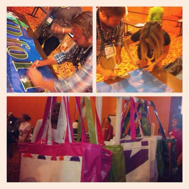 Making bags for the Food Bank.