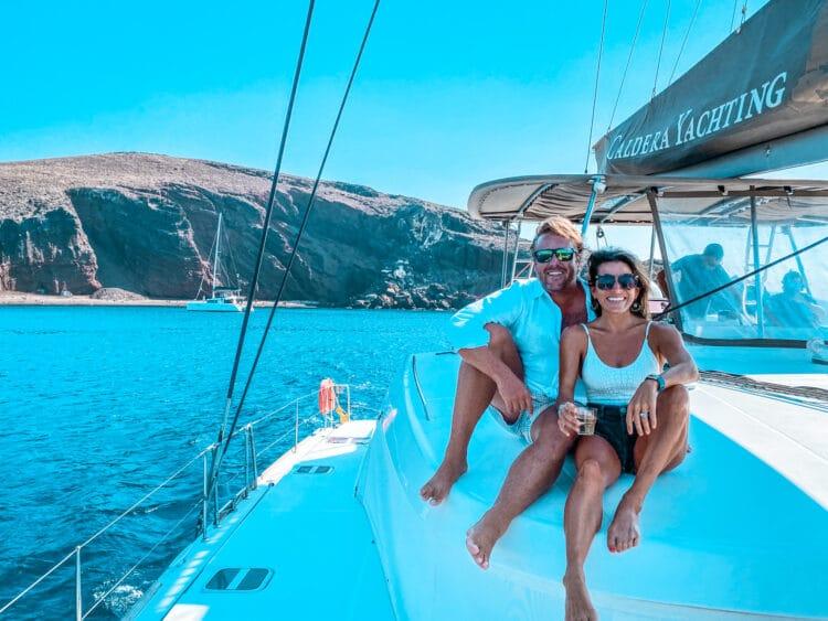 Boating in Santorini